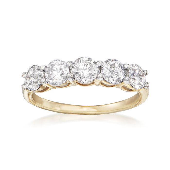 1.50 ct. t.w. Diamond Five-Stone Ring in 14kt Yellow Gold, , default