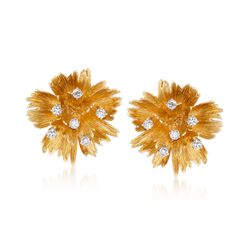 C. 1970 Vintage Cellino 1.00 ct. t.w. Diamond Floral Clip-On Earrings in 18kt Yellow Gold , , default