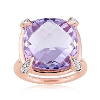 15.00 Carat Pink Amethyst and .13 ct. t.w. White Sapphire Ring in 14kt Rose Gold, , default