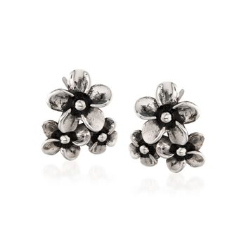 """Zina Sterling Silver """"Hibiscus"""" Floral Cluster Earrings, , default"""
