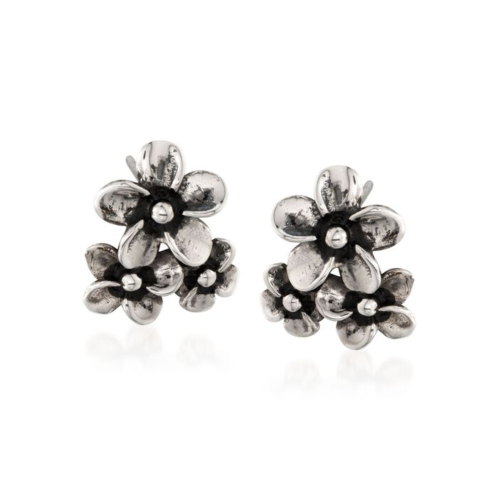 "Zina Sterling Silver ""Hibiscus"" Floral Cluster Earrings, , default"