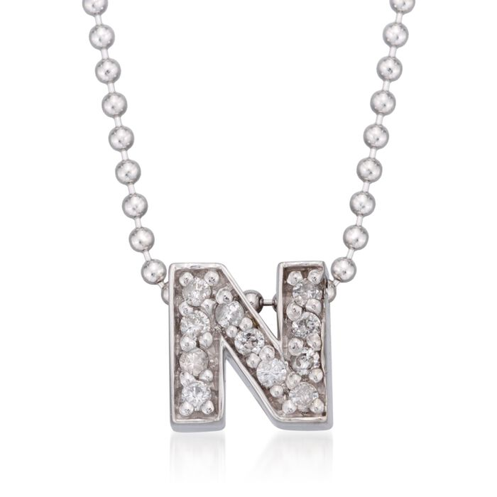 """Diamond Accent Initial """"N"""" Pendant Necklace in 14kt White Gold. 16"""""""