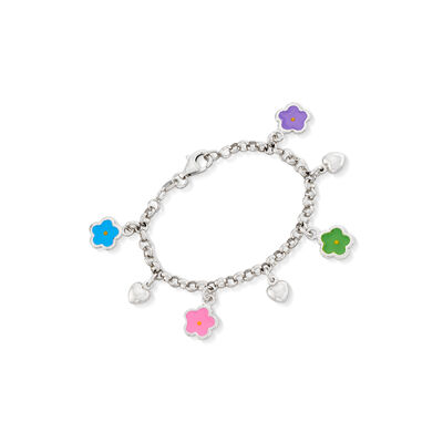 Child's Italian Sterling Silver and Enamel Flower Charm Bracelet, , default