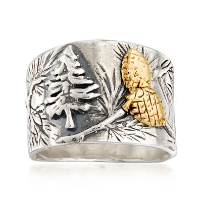 Sterling Silver Forest Ring with 14kt Yellow Gold Accents