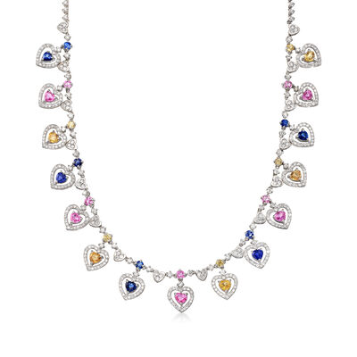 18.00 ct. t.w. Mutlicolored Sapphires and 5.85 ct. t.w. Diamond Heart Necklace in 14kt White Gold, , default