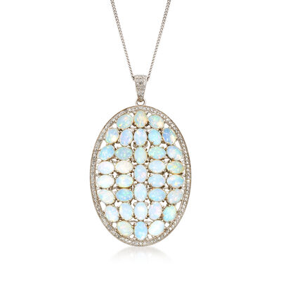 Ethiopian Opal and 2.00 ct. t.w. Diamond Pendant Necklace in Sterling Silver, , default
