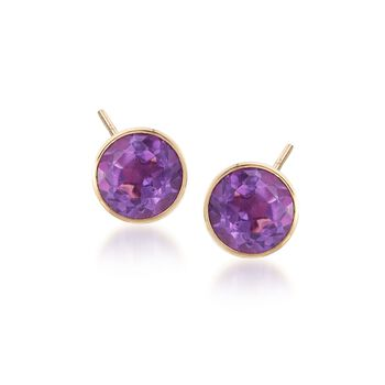 14kt Yellow Gold Jewelry Set: Hoop Jackets and .40 ct. t.w. Amethyst Stud Earrings, , default