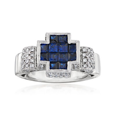 C. 1990 Vintage 2.00 ct. t.w. Sapphire and 1.35 ct. t.w. Diamond Ring in 18kt White Gold, , default