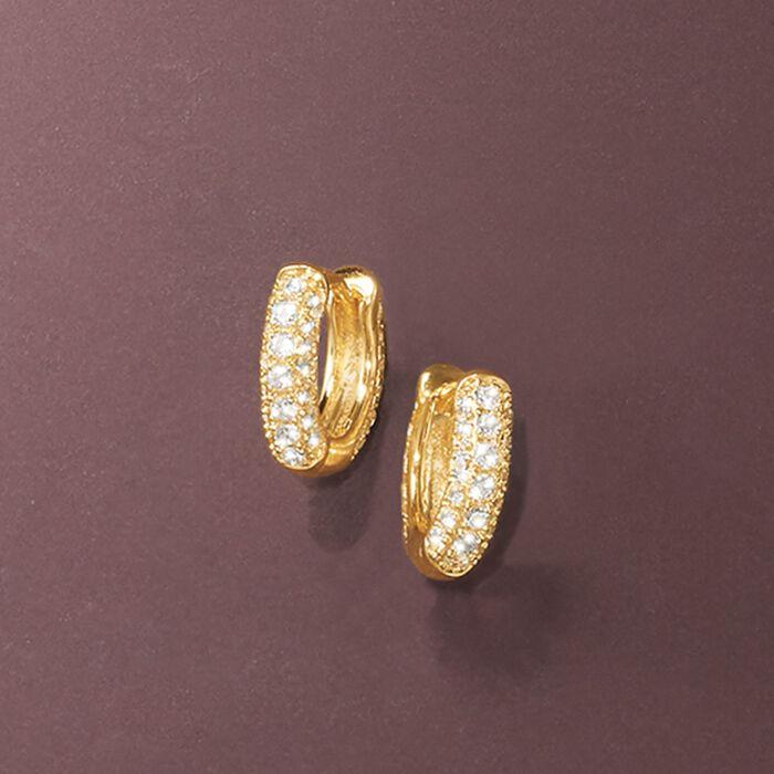 .50 ct. t.w. CZ Huggie Hoop Earrings in 14kt Yellow Gold