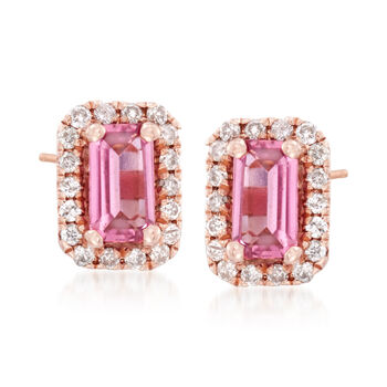 .50 ct. t.w. Pink Tourmaline and .15 ct. t.w. Diamond Stud Earrings in 14kt Rose Gold, , default