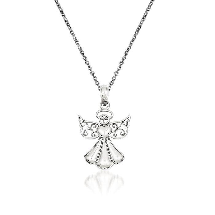 "14kt White Gold Guardian Angel Pendant Necklace. 18"", , default"