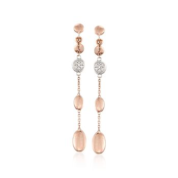 Roberto Coin 18kt Rose Gold Pebble Drop Dangle Earrings With Diamond Accents, , default