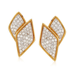C. 1980 Vintage 3.20 ct. t.w. Diamond Crossover Earrings in 14kt Yellow Gold  , , default