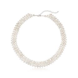 3-5.5mm Cultured Pearl Multi-Row Necklace With Sterling Silver, , default