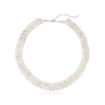 """3-5.5mm Cultured Pearl Multi-Row Necklace With Sterling Silver. 18"""", , default"""