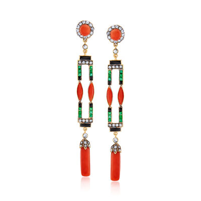 C. 1940 Vintage Black Onyx, Coral, 1.00 ct. t.w. Diamond and .75 ct. t.w. Emerald Drop Earrings in 14kt Gold Over Sterling, , default