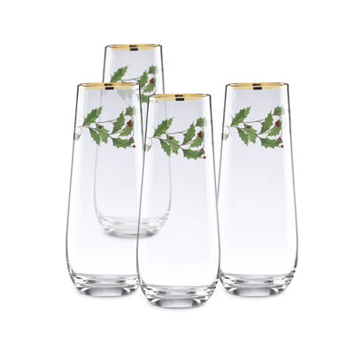 "Lenox ""Holiday"" Set of 4 Decal Stemless Flutes, , default"