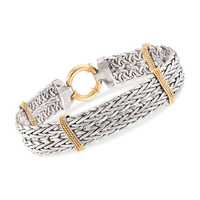 Two-Tone Wheat Link Bracelet in Sterling Silver With 14kt Yellow Gold, , default