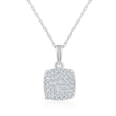 .22 ct. t.w. Diamond Square Cluster Pendant Necklace in 14kt White Gold