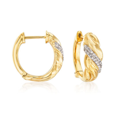 .16 ct. t.w. Diamond Sash Hoop Earrings in 14kt Yellow Gold, , default