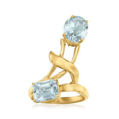 C. 1980 Vintage 3.65 ct. t.w. Aquamarine Bypass Ring in 14kt Yellow Gold