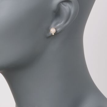 6-6.5mm Cultured Akoya Pearl and Diamond Accent Earrings in 14kt Yellow Gold, , default