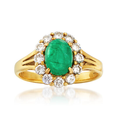C. 1970 Vintage 1.35 Carat Emerald and .75 ct. t.w. Diamond Ring in 18kt Yellow Gold, , default