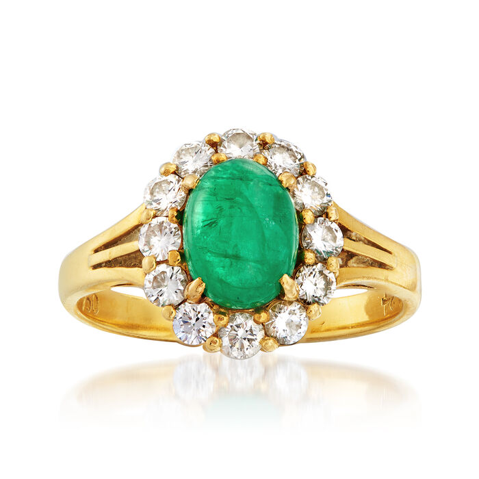C. 1970 Vintage 1.35 Carat Emerald and .75 ct. t.w. Diamond Ring in 18kt Yellow Gold. Size 6.5
