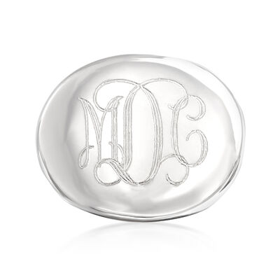 Italian Sterling Silver Oval Monogram Ring