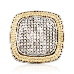 1.00 ct. t.w. Pave Diamond Square Ring With Beaded Frame in Sterling and 18kt Gold, , default