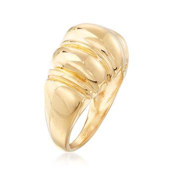 Italian 18kt Gold Over Sterling Domed Shrimp Ring. Size 5