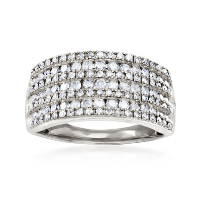 1.00 ct. t.w. Diamond Multi-Row Ring in Sterling Silver