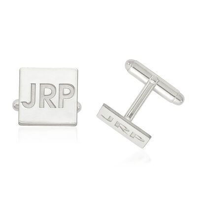 14kt White Gold Recessed Letters Square Monogram Cuff Links, , default
