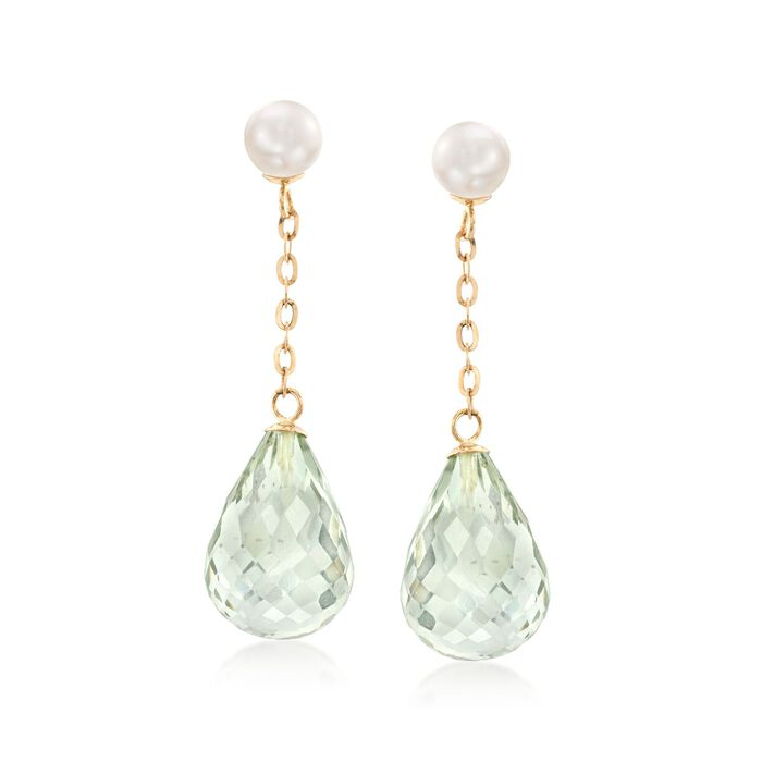 5-5.5mm Cultured Pearl and 20.00 ct. t.w. Green Prasiolite Drop Earrings in 14kt Yellow Gold, , default