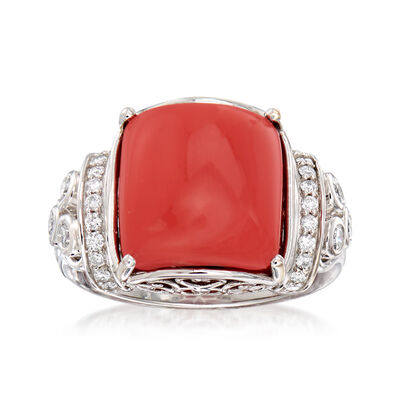 Red Coral and .35 ct. t.w. Diamond Ring in 18kt White Gold