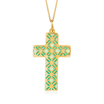 Turquoise Enamel Cross Pendant Necklace in 14kt Yellow Gold