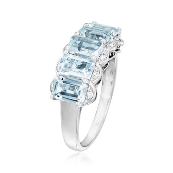 2.45 ct. t.w. Aquamarine Ring with Diamonds in Sterling Silver, , default