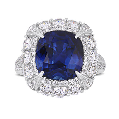 7.10 Carat Sapphire and 1.73 ct. t.w. Diamond Cocktail Ring in 14kt White Gold, , default