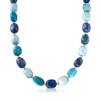 Multi-Gem Beaded Necklace in 14kt Yellow Gold, , default