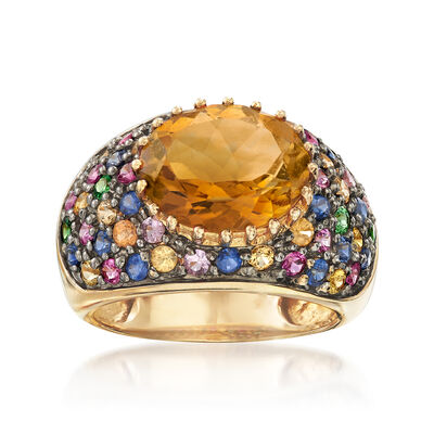 C. 1990 Vintage 4.15 Carat Citrine, 2.00 ct. t.w. Multicolored Sapphire and .16 ct. t.w. Tsavorite Ring in 10kt Yellow Gold, , default