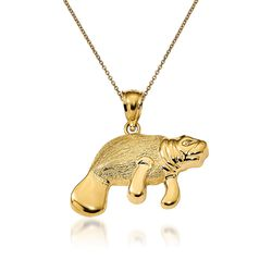 """14kt Yellow Gold Manatee Pendant Necklace. 18"""", , default"""