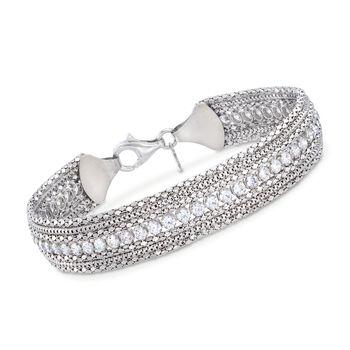 Italian 3.75 ct. t.w. CZ Multi-Chain Bracelet in Sterling Silver, , default