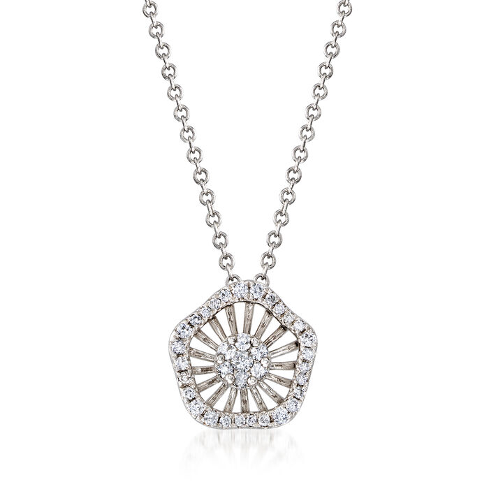 """C. 1990 Vintage Giantti .25 ct. t.w. Diamond Cluster Necklace in 18kt White Gold. 15.75"""""""