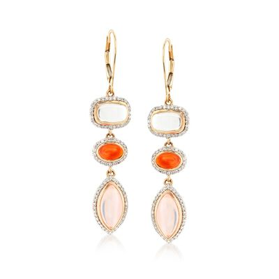 Cabochon Multi-Stone and .67 ct. t.w. Diamond Drop Earrings in 14kt Yellow Gold , , default