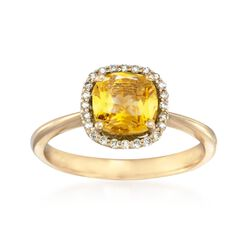 3.00 Carat Citrine and .36 ct. t.w. Diamond Halo Ring in 14kt Yellow Gold, , default