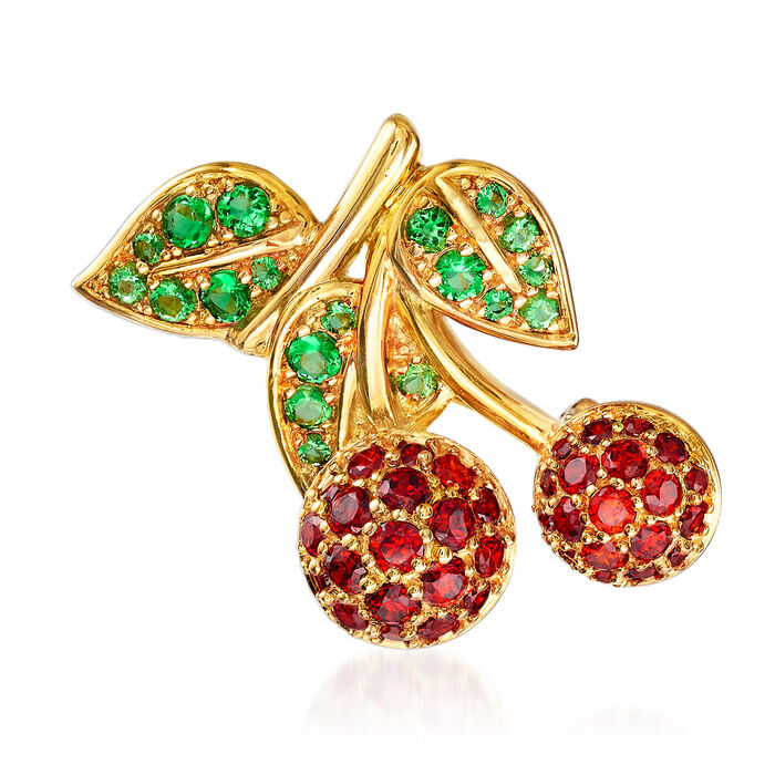 .70 ct. t.w. Simulated Ruby and .30 ct. t.w. Simulated Emerald Cherry Pin/Pendant in 18kt Gold Over Sterling