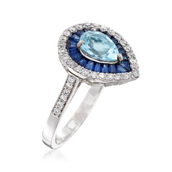 2.90 ct. t.w. Multi-Stone and .49 ct. t.w. Diamond Ring in 14kt White Gold, , default