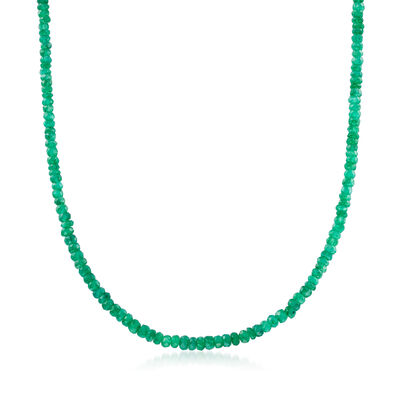 70.00 ct. t.w. Emerald Bead Necklace in 14kt Yellow Gold with Magnetic Clasp
