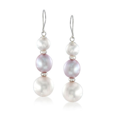 6-10mm Cultured Pearl Earrings in Sterling Silver, , default