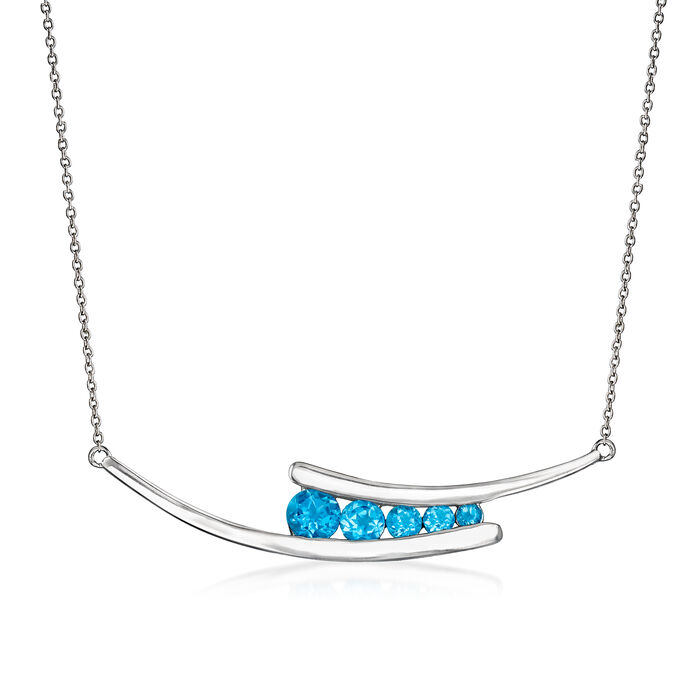 1.50 ct. t.w. Swiss Blue Topaz Graduated Double Curved Bar Necklace in Sterling Silver